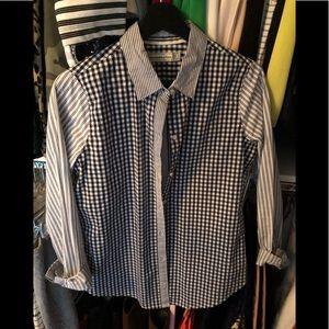 BNWOT A&F Black gingham & stripe button down